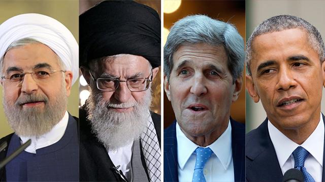 הסכם הגרעין בסכנה? אובמה, קרי, חמינאי ורוחאני (צילום: AP, AFP, רויטרס) (צילום: AP, AFP, רויטרס)