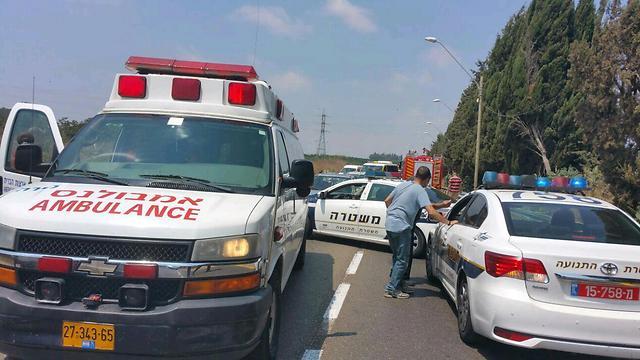 """זירת התאונה, היום (צילום: דוברות מד""""א) (צילום: דוברות מד"""