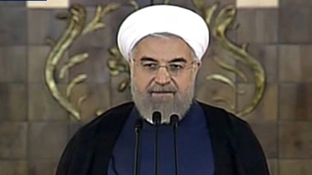 President Rouhani during his address on Tuesday. (Photo: AP) (Photo: AP)