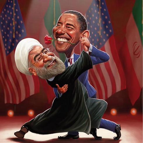 אובמה האמין שהסכם הגרעין עם איראן לא רק ימנע או ידחה לשנים רבות את הפצצה האיראנית, אלא גם יביא למיתון משטר האייתולות ולשיתוף פעולה עם טהרן בנושאים אזוריים ובינלאומיים. בקריקטורה עם הנשיא האיראני רוחאני ()
