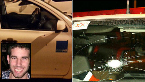 The vehicle driven by Malachi Rosenfeld that was hit near Shvut Rachel, left, and the ambulance that was hit near Beit El, right (Photos: Tazpit, Shin Bet)