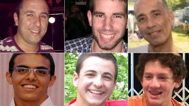 Top row from left to right: Danny Gonen, Malachi Rosenfeld and Baruch Mizrahi. Bottom row: Eyal Yifrach, Gilad Sha'er and Naftali Frenkel. All were killed in incidents involving those released in the Shalit deal with Hamas.