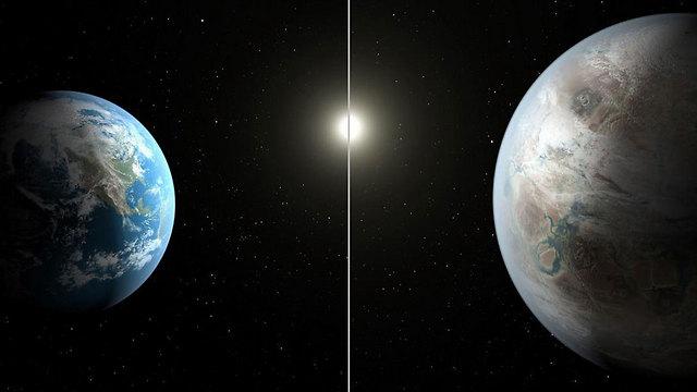 קפלר 452b מימין, כדור הארץ משמאל
