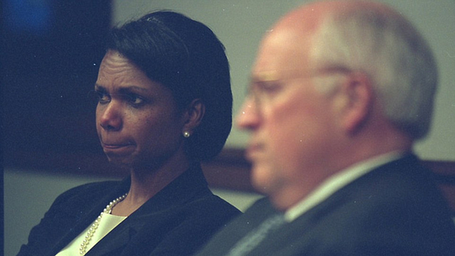 Rice bites her lip while watching the events (Photo: US National Archive)