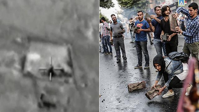הפגזה טורקית של יעד של דאעש (משמאל) (צילום: AFP) (צילום: AFP)