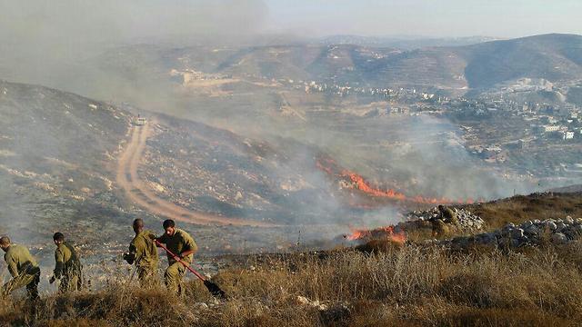 Brush fire near Yitzhar.