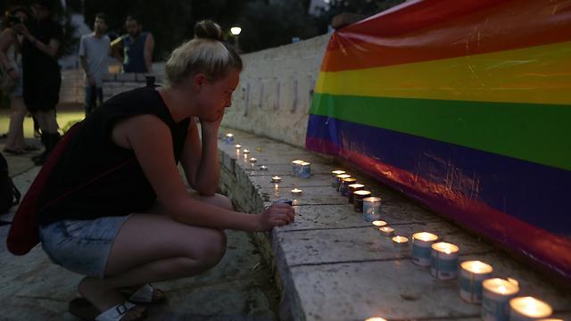 הדלקת הנרות לזכרה של בנקי, הערב בתל אביב (צילום: ירון ברנר) (צילום: ירון ברנר)