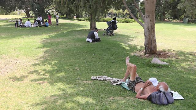 Heat wave in Jerusalem park (Photo: Gil Yohanan)