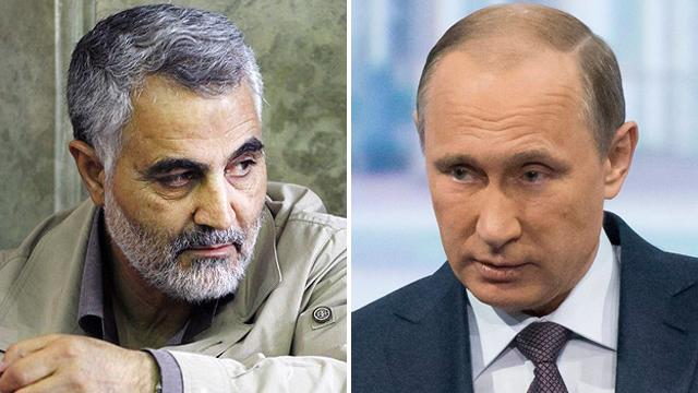 Qasem Soleimani (L) and Vladimir Putin (Photos: Fars News Agency, AP)