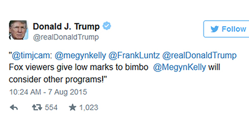 """טראמפ צייץ מחדש: צופי פוקס נותנים ציון נמוך למייגן קלי ה""""בימבו"""""""