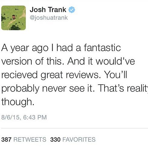 הציוץ של טראנק שהוסר בינתיים ממנוי הטוויטר שלו (מתוך טוויטר) (מתוך טוויטר)