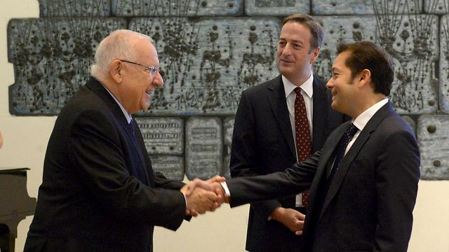 President Rivlin with Ambassador Quarrey and Henriquez (Photo: Mark Neyman/GPO)