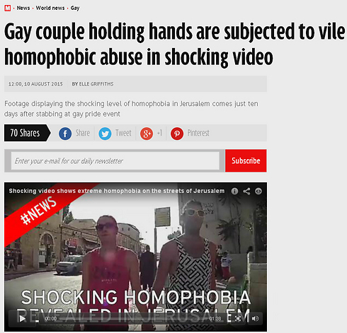 "The article in Mirror: ""Shocking level of homophobia in Jerusalem"""