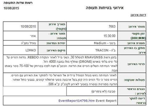 הדיווח לרשות שדות התעופה ()