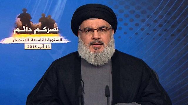Nasrallah delivering his speech from his bunker (Photo: AFP/Al-Manar)