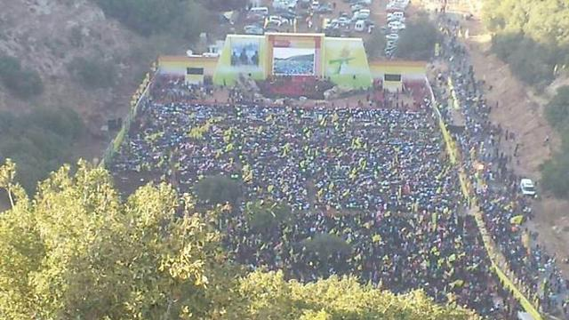 A large crowd arrived at the Hezbollah event