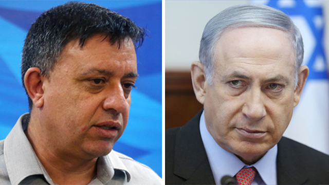 Gabbay (L) called on PM Netanyahu to announce new elections
