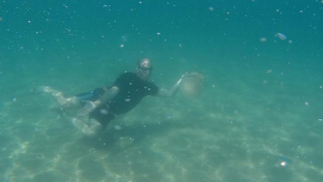 צוללן מנסה להתקרר מתחת למים (צילום: גלעד תדהר)