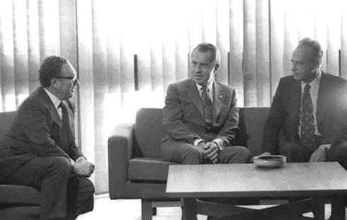 Kissinger, Richard Nixon, and Yitzhak Rabin (Photo: Yaakov Sa'ar/GPO)