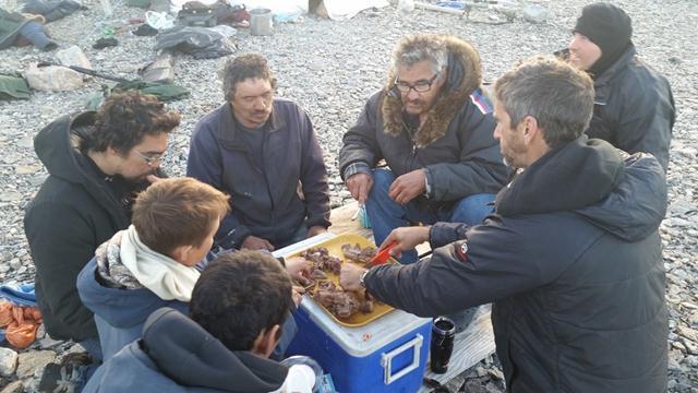 אוכלים בשר של אייל. האינואיטים צדים חיות בר למאכל באזורים כה נידחים כדי לשרוד (צילום: יונתן ניר) (צילום: יונתן ניר)