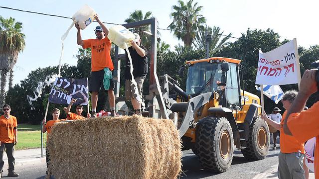 חקלאים שופכים חלב בצומת צמח (צילום: אביהו שפירא  ) (צילום: אביהו שפירא  )