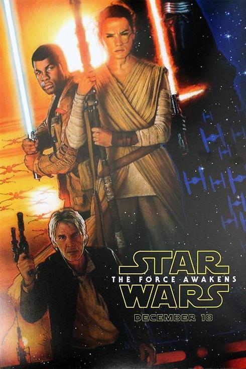 """הפוסטר של """"מלחמת הכוכבים: הכוח מתעורר"""" בעיצובו של המאסטר דרו שטרוזן ()"""
