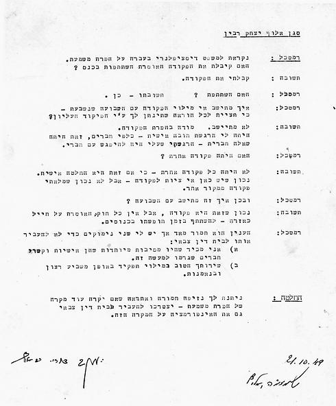 """רבין עולה למשפט: """"מודה בהפרת הפקודה"""" (צילום: ארכיון צה""""ל במשרד הביטחון) (צילום: ארכיון צה"""