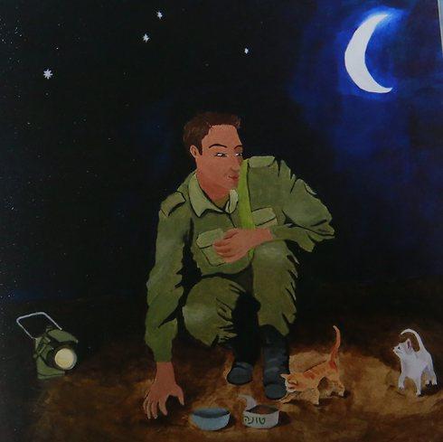 Illustration from the book: Matan feeding the kittens (Photo: Gadi Kabalo)