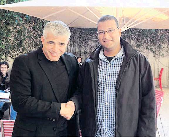 Hassanein meets with Yesh Atid leader Yair Lapid at Tel Aviv University.