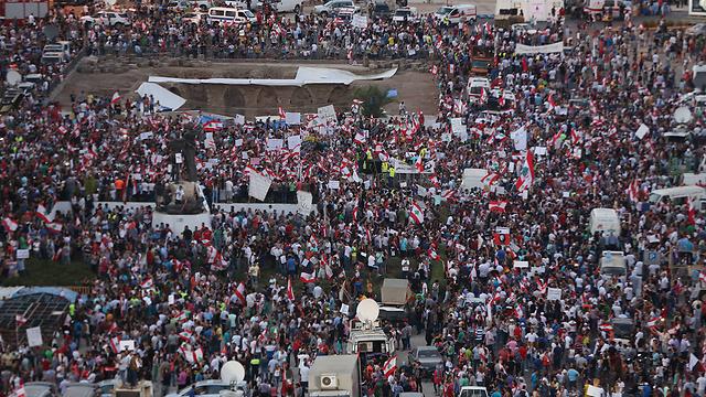 """""""מחאת הזבל"""" ברחובות ביירות (צילום: AP) (צילום: AP)"""