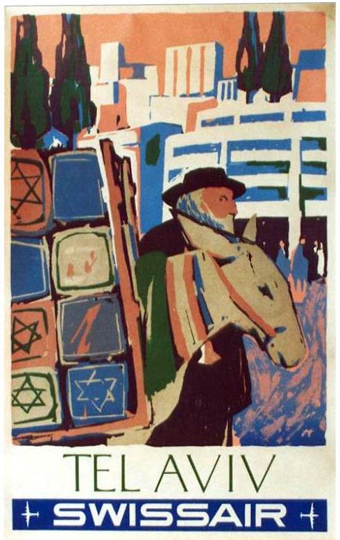 """ירושלים או תל אביב? ב-Swissair אולי מעט התבלבלו. בכרזה זו, מהעתיקות ביותר שמצאנו - משנת 1951, נראה אדם בלבוש חרדי לצד חמור, לצדו ערימה של תיקים או מוצרים שעליהם מגן דוד ומתחתיו הכיתוב """"Tel Aviv"""" ()"""