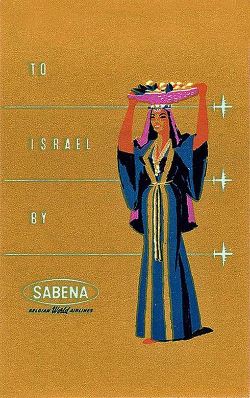 אישה נוספת עם סלסלה על הראש שייכת לחברת התעופה הבלגית Sabena שפסקה מלפעול ב-2001. המודעה שלפניכם מתחילת שנות ה-80 ()