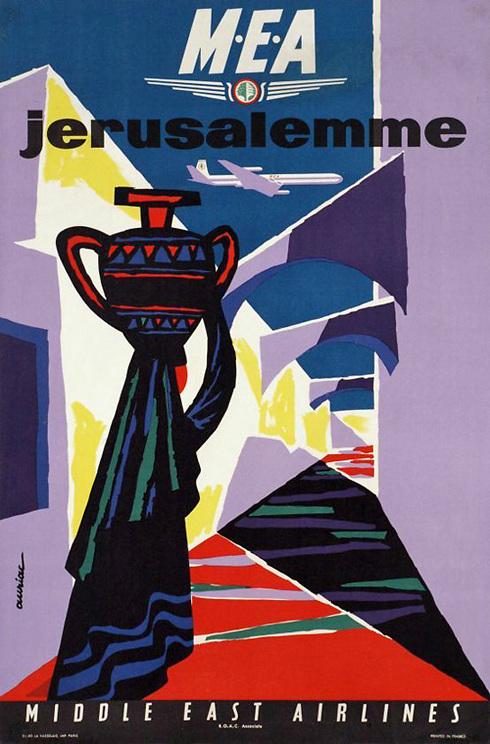 אחת הכרזות המעניינות שמצאנו היא של חברת Middle East Airlines - החברה הלאומית הלבנונית, בעיצוב של האמן ז'אק אוריאק משנת 1975. בתעתיק איטלקי הציעה החברה ביקור בירושלים, כאשר את המודעות הובילה אישה בלבוש ערבי מסורתי עם כד על ראשה ()