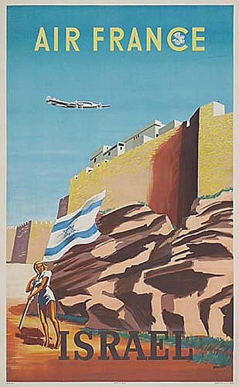 כבר בשנת 1949 פרסמה החברה את טיסותיה, כאן על רקע חומות ירושלים ()
