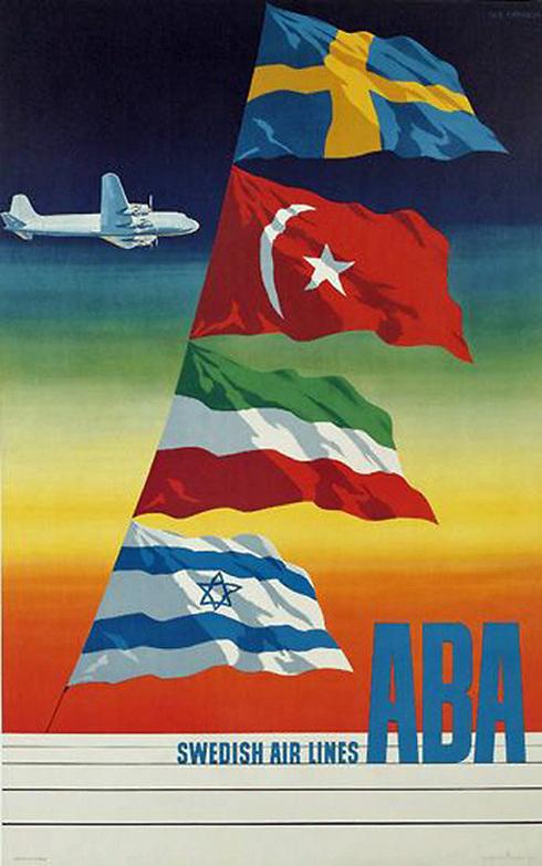 חברת התעופה השבדית ABA (ללא כל קשר ל-ABBA) שהפכה לימים לחלק מחברת SAS, הכניסה את ישראל למודעה המאוירת הזו בתחילת שנות ה-60, כחלק מקידום יעדיה החדשים וביניהם טורקיה וישראל ()