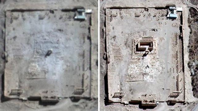 המקדש לפני ואחרי  (צילום: רויטרס, AFP) (צילום: רויטרס, AFP)