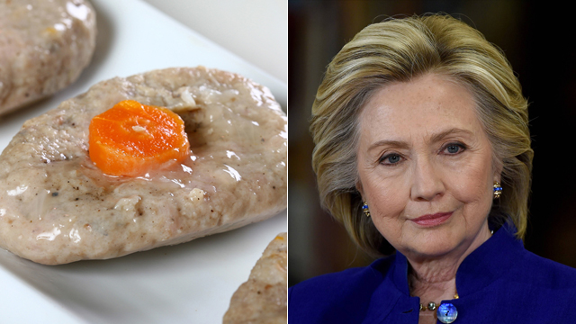 Clinton and gefilte (Photo: AFP, Shutterstock)