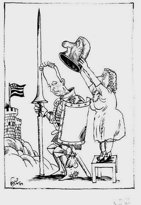 Смена власти. Карикатура Шмуэля Каца, 1974. Предоставлена семьей Кац