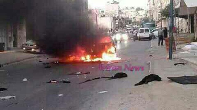 Scene of the firebomb attack in Hebron.