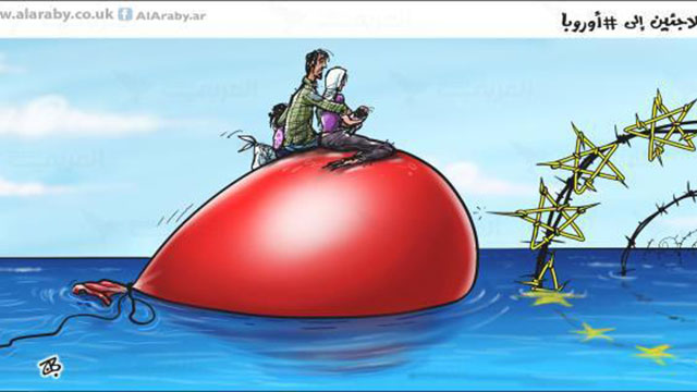 Arab caricature: Muslims are left to drown in the European's obstacle course.