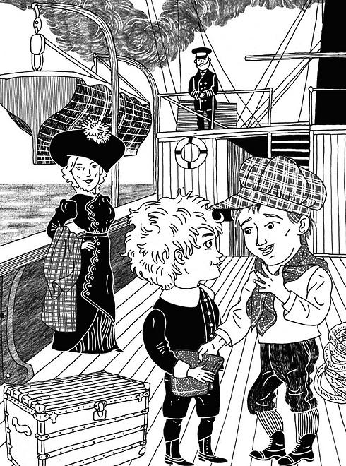 """בין רוזנים למשרתים. """"לורד פונטלרוי הקטן"""" (איור: מירה פרידמן)"""
