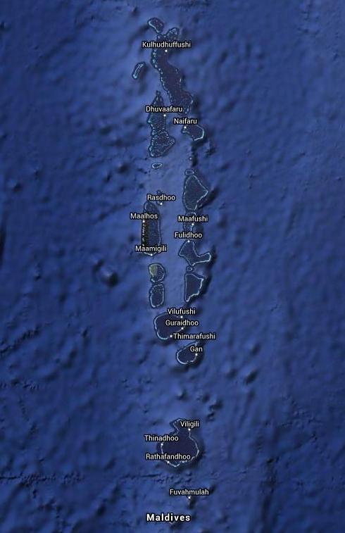 מפת המלדיביים (צילום: Google Maps) (צילום: Google Maps)