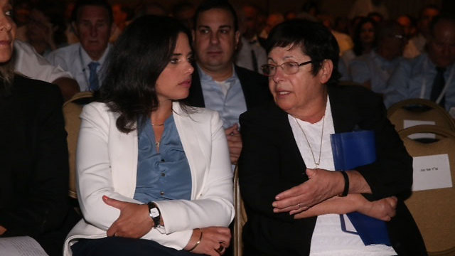 Justice Minister Shaked and Supreme Court President Miriam Naor at the Israel Bar Association meeting (Photo: Motti Kimchi)