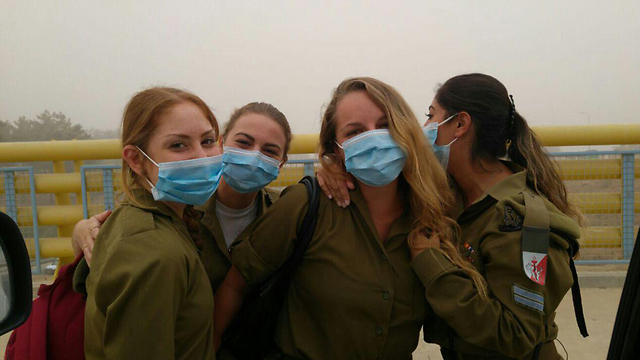 Soldiers on base in northern Israel (Photo: Yael Shavit)