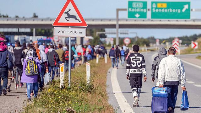 עוברים בדנמרק בדרך לשבדיה העשירה והליברלית (צילום: EPA) (צילום: EPA)