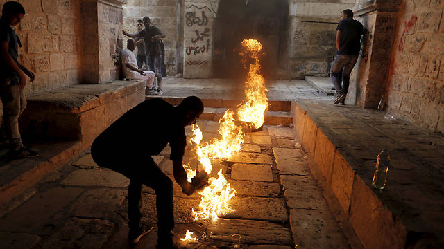 Rioting at the Temple Mount in September (Photo: Reuters)
