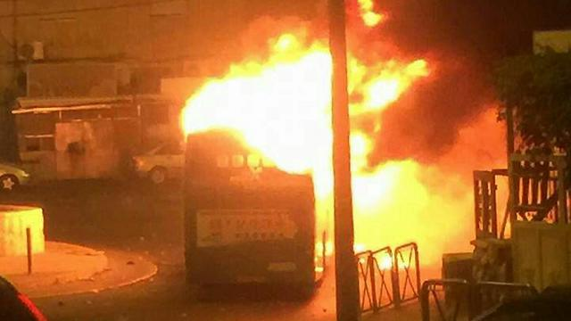 Bus on fire in Jerusalem on Thursday