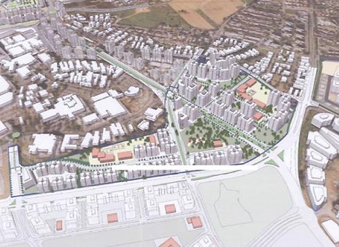 מתחם תל השומר צפון. יכלול כ-2,000 יחידות דיור (הדמיה: אדריכל יוסי פרחי)