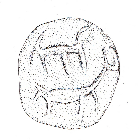 The figures carved on the seal (Drawing: Razia Richman)