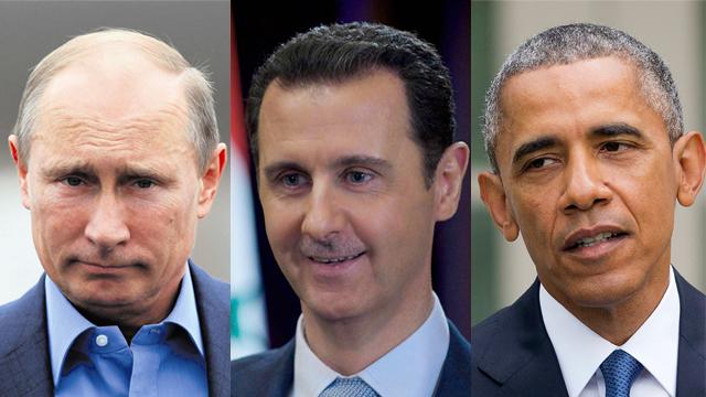 Russian President Vladimir Putin, left, Syrian President Bashar Assad, middle, US President Barack Obama, right (Photo: AP, Gettyimages, Reuters)